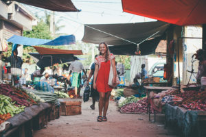 Diana smiling at the market