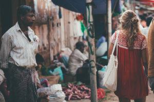 Buying food at Weligama market