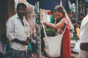 Fresh herbs at Weligama market