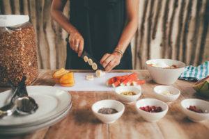 Diana chopping food